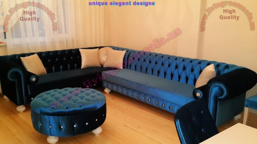 Blue velvet chesterfield corner sofa with rounded ottoman