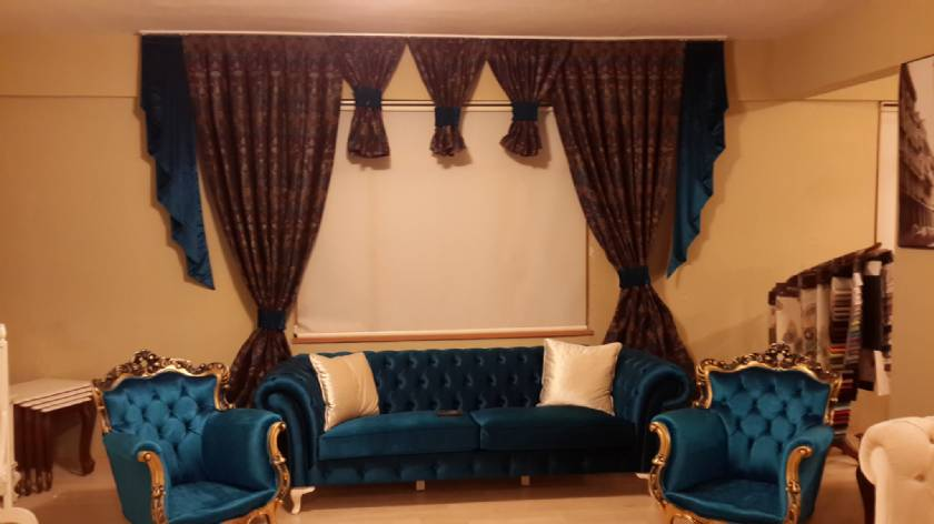 Blue Velvet luxury living room sofa set