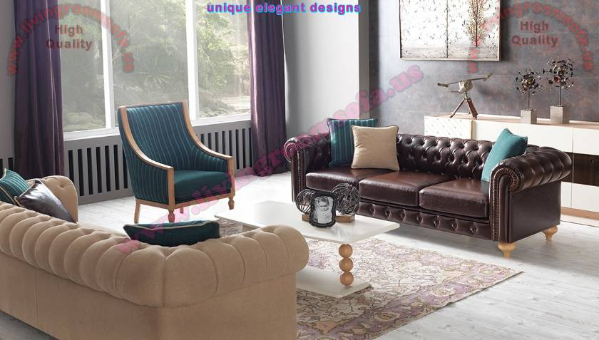 Boutique Leather and Fabric Chesterfield Sofa Set Mixing modern and traditional