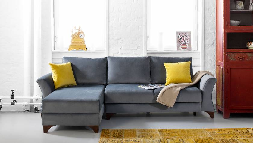 Cadet Blue Modern Corner Sofa Velvet Sofa for small living room