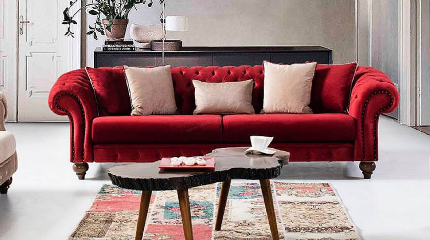 Cambridge Luxury red velvet chesterfield sofa