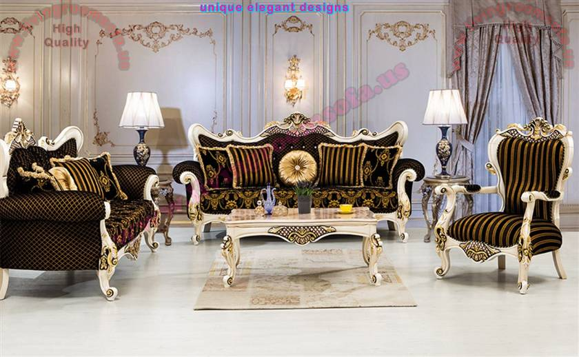 Carved Luxurious Sofa Set Classical Living Room Designs