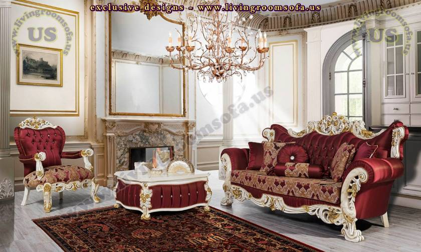 Cherry Retro Sofa Set Elegant Living Room Design