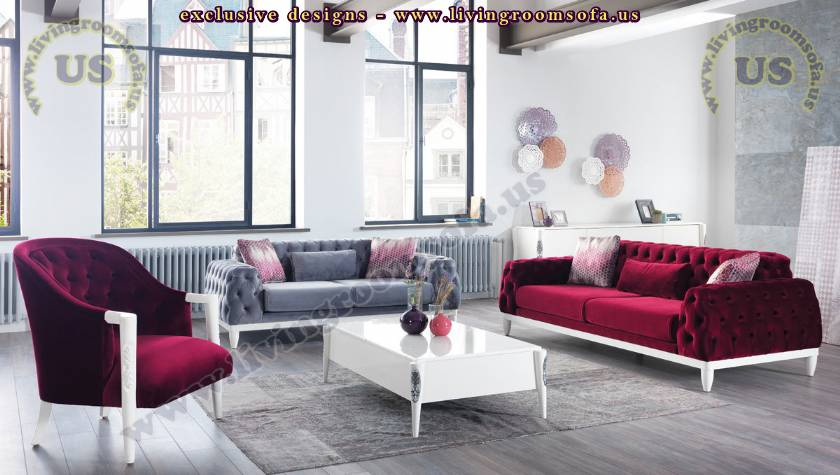 cherry velvet chesterfield sofa sets
