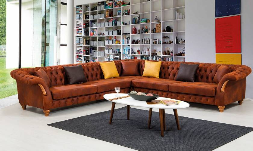chesterfield corner sofa in leather corner sofa for living room