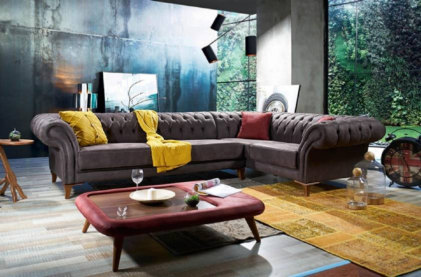 Chesterfield Corner Sofa Leather or Fabric luxury high quality