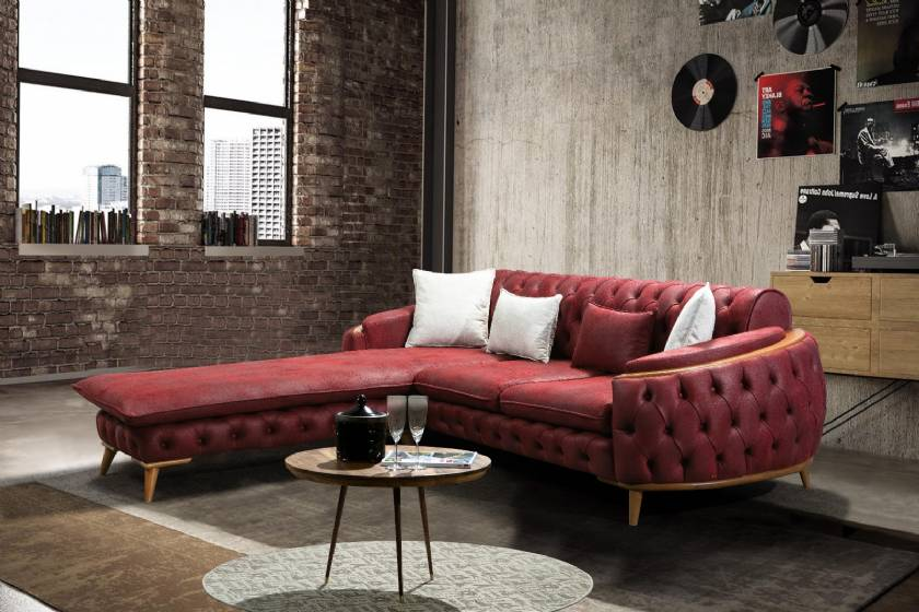 Chesterfield corner sofa with lounge design for small spaces