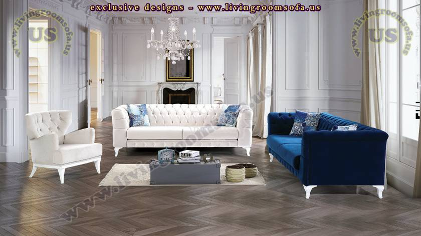 Chesterfield Sofa Set Blue And White Lux Comfortable Design