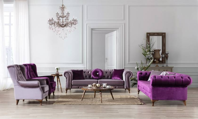 Chesterfield Sofa Set Purple and Gray Velvet with armchairs