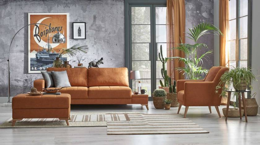 Chocolate Modern Sofa Set for small living room Elegance Designs