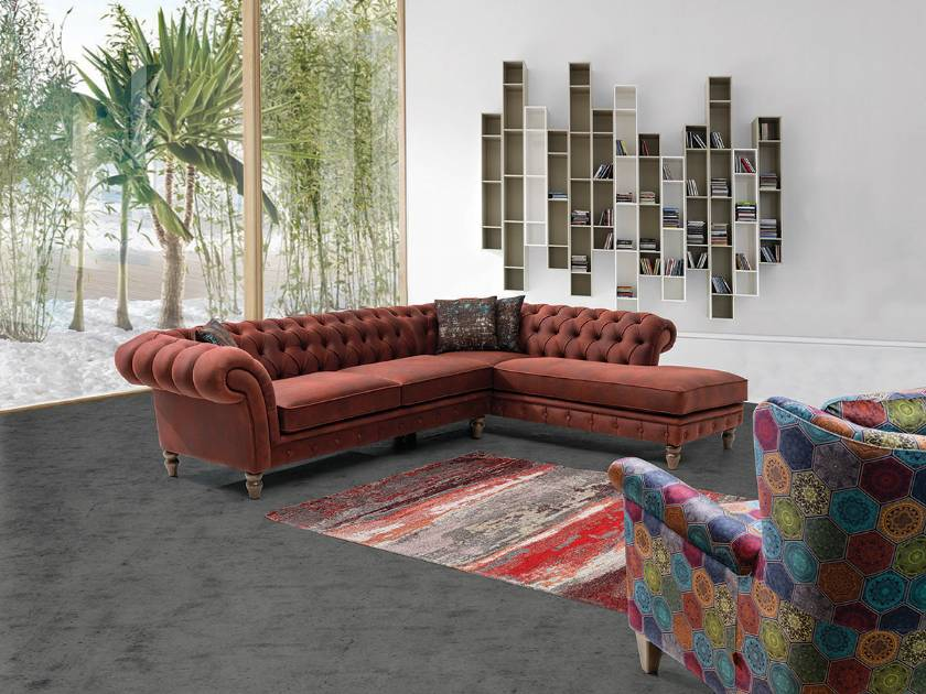 Classic and modern style chesterfield corner sofa with lounge