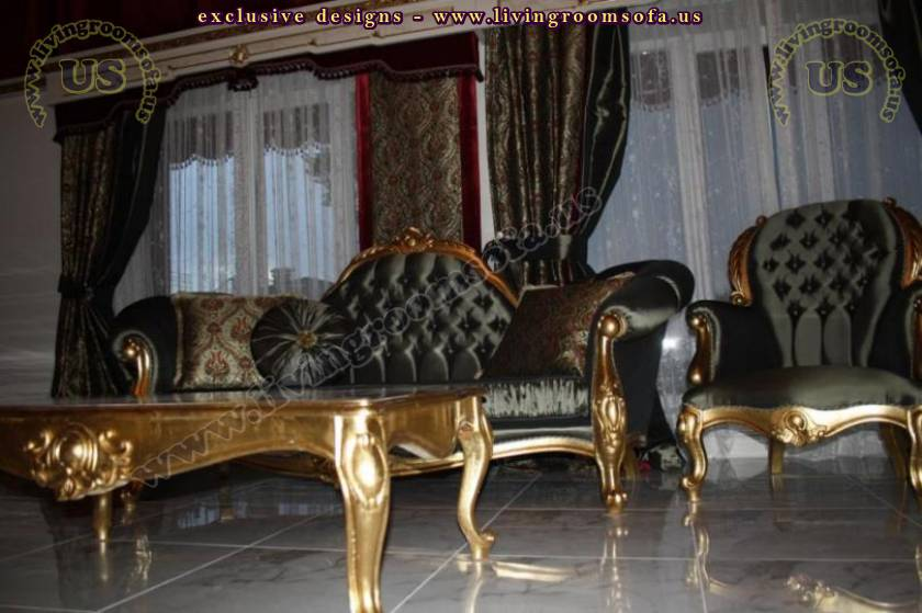 classic living room set bright velvet gold leaf finish