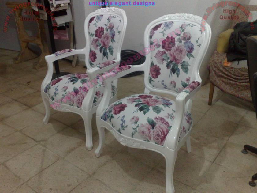 Classical Elegant Chair Design White wooden fabric