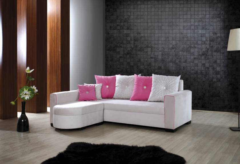 Cotton White and Pink Modern Small Sofa L shaped for small spaces