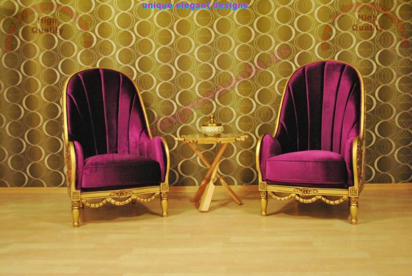 Couple Chairs Purple velvet fabric carved gold leaf elegant chair design