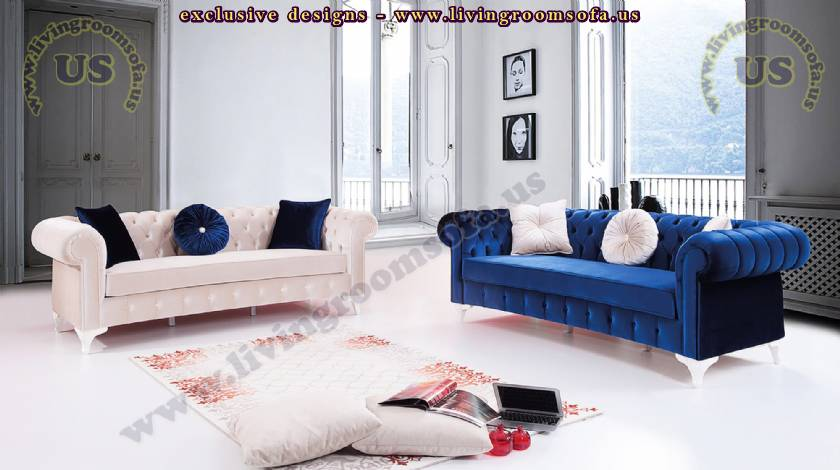 couple white and blue chesterfield sofa set