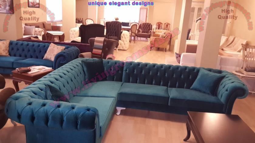 Dark Blue Chesterfield Corner Sofa