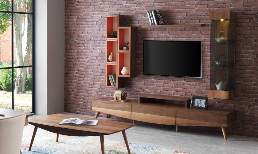 Wooden Modern Luxury Tv Stand And Wall Unit Living Room