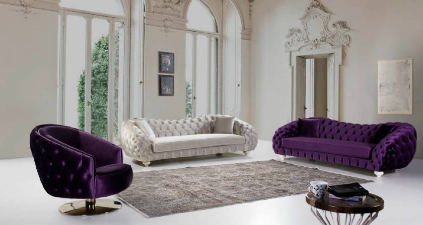 Elegance Living Room Sofa Set Purple Velvet Chesterfield Sofas