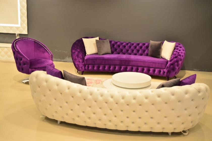 Elegance Luxury Chesterfield Sofa Set Purple and White Velvet