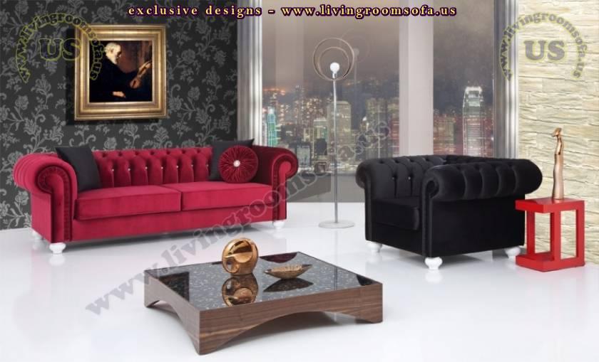 elegant chesterfield sofa set cherry and black velvet