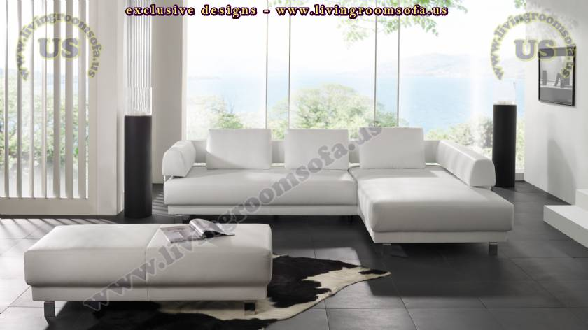 elegant modern l shaped sofa white leather sectional