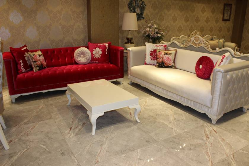 Emilia Luxury velvet chesterfield sofa Red and White New Style