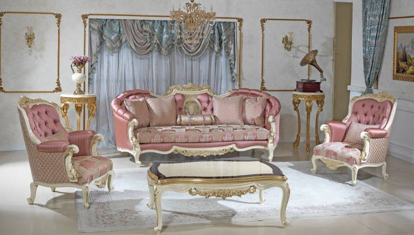 Formal Antique Style Luxury Sofa Love Seat 3 Piece Living Room Set