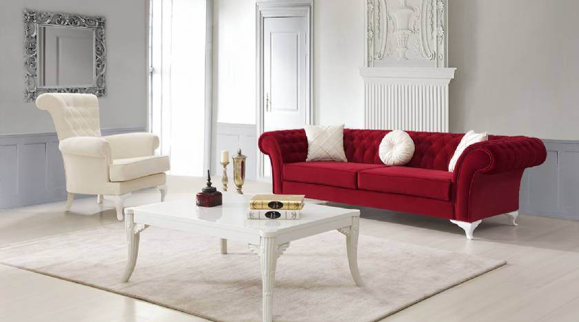 Glamour Luxury Red velvet chesterfield sofa with white velvet armchair