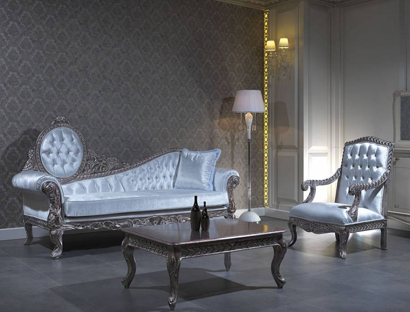 Glossy luxury chaise lounge and chair silver curved wood frames white fabrics