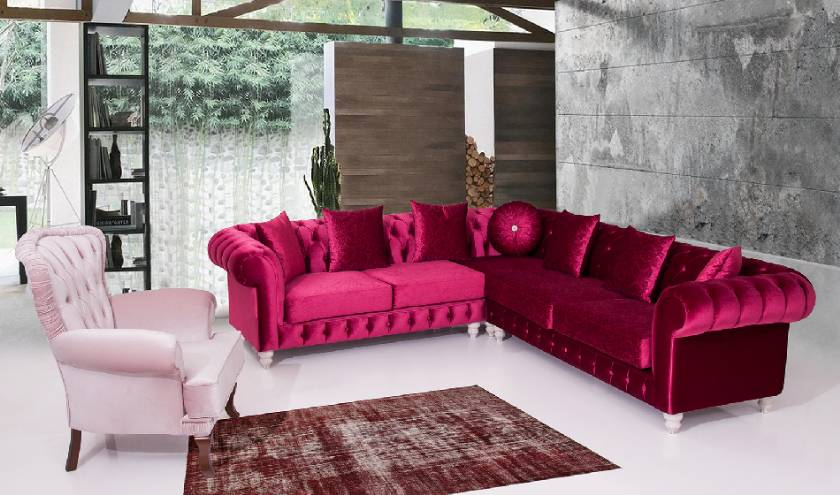 Glossy Red Velvet Chesterfield corner sofa luxury living room corner sofa