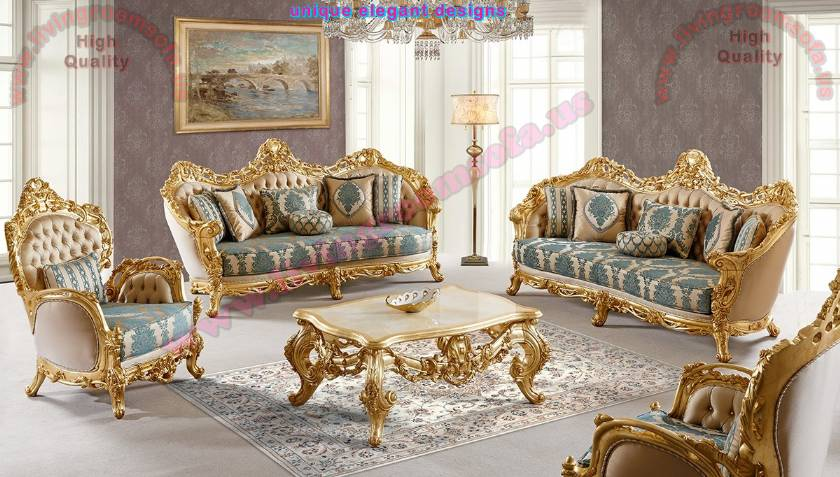 Gold Leaf Carved Classical Sofa Set Luxury Living Room
