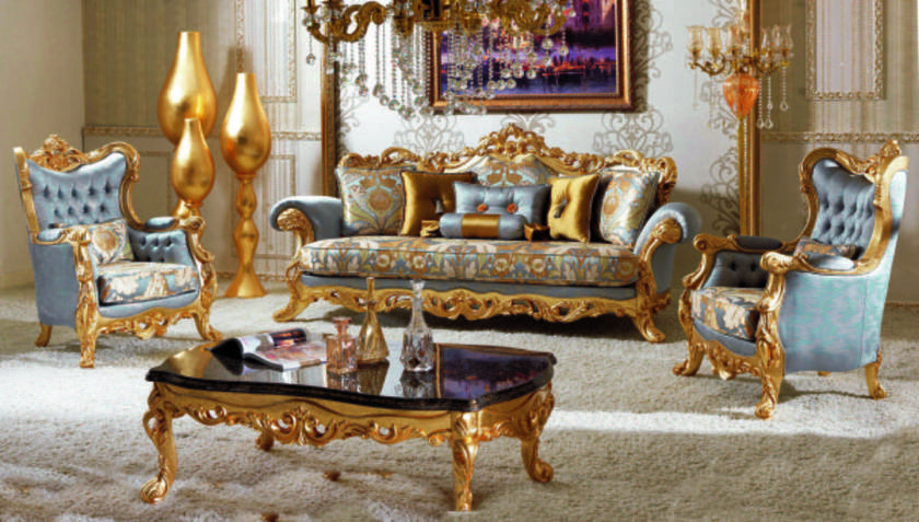 Golden Luxury Living Room Sofas Furniture Sofas Classic style Luxury