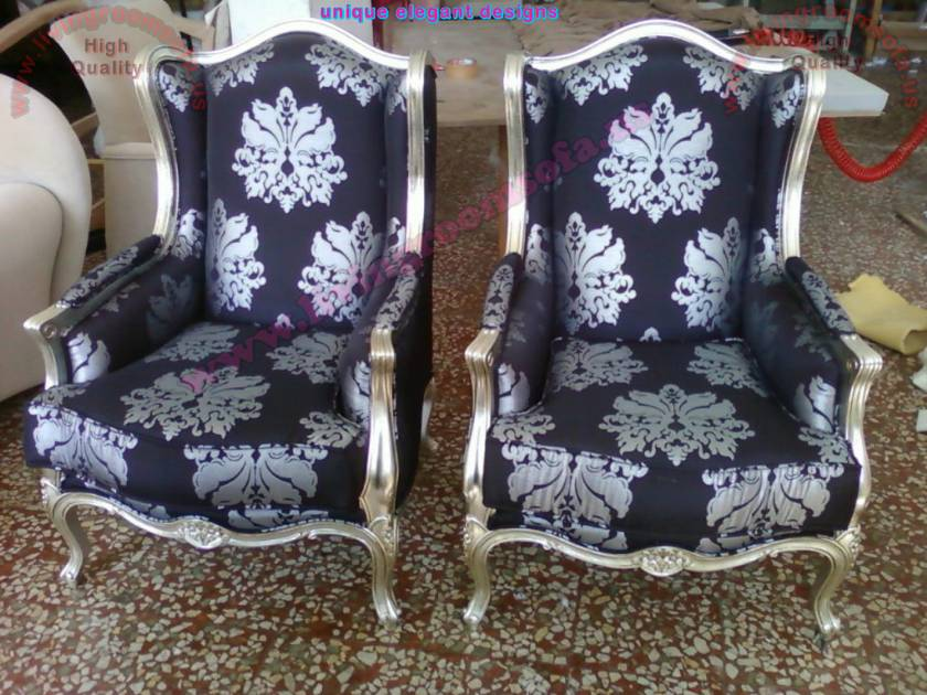 Grandfather Couple Chairs patterned fabric luxury chair design