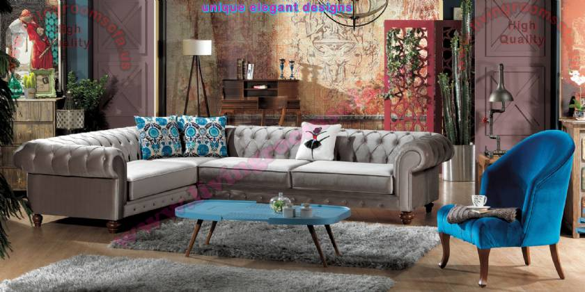 Gray Velvet L Shaped Chesterfield Design Modern Luxury interiors