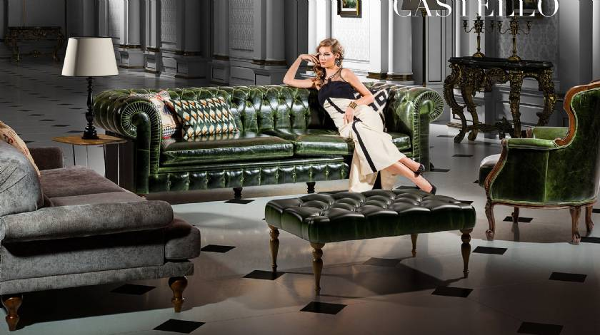 Green luxury leather sofa leather chair and coffee table