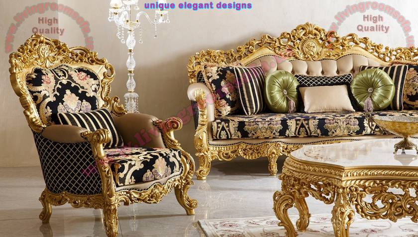 Handcraft Luxurious Classical Sofas Set Carved Gold Leaf