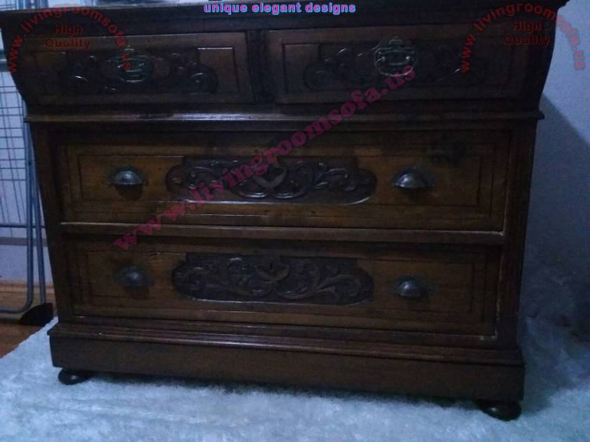 Handmade antique  chest of drawers wooden and embossed