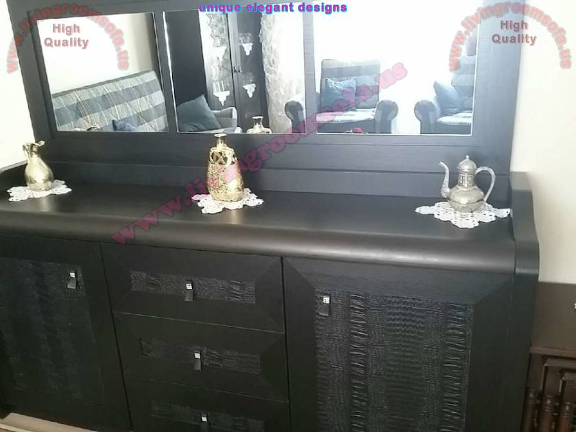 Handmade Classic chest of drawers black mirrored