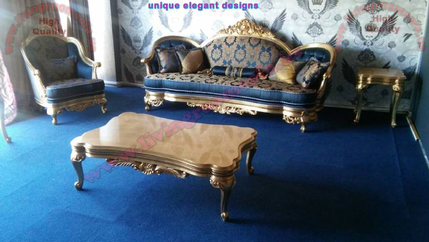 Handmade exclusive classical sofa living room coffee table carved gold leaf elegant design