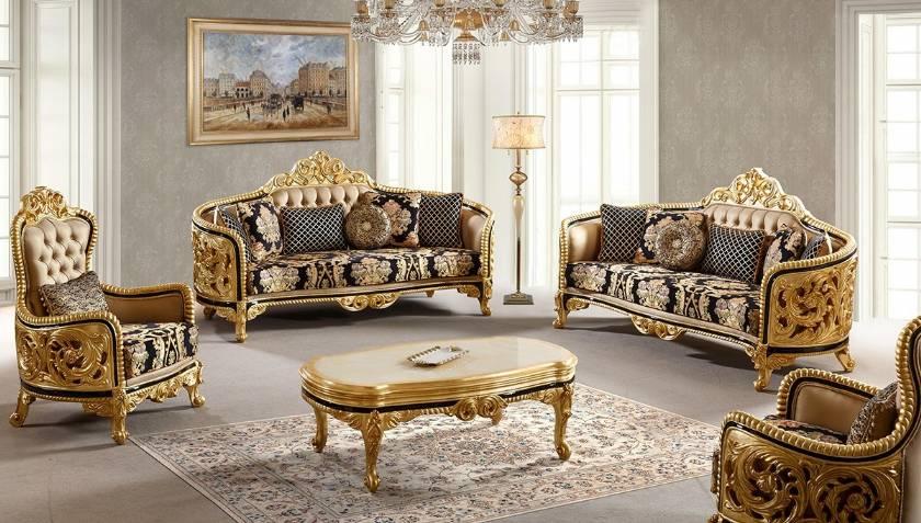 Hervorragendes klassisches Sofa Goldlack geschnitzt Moderne Antik