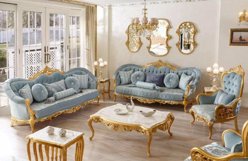 Klassisches Sofagarnitur aus Blattgold Luxus Wohnzimmer Sofa Designs