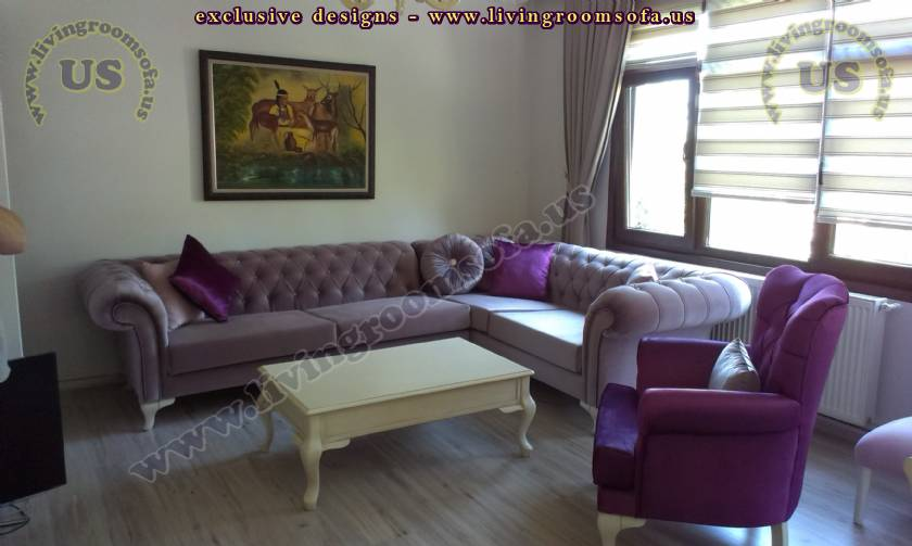 L shaped chesterfield sofa purple velvet