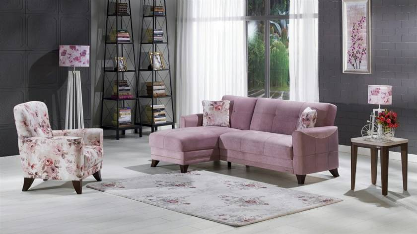 L shaped modern sofa with chair for small spaces pink sectional sofa
