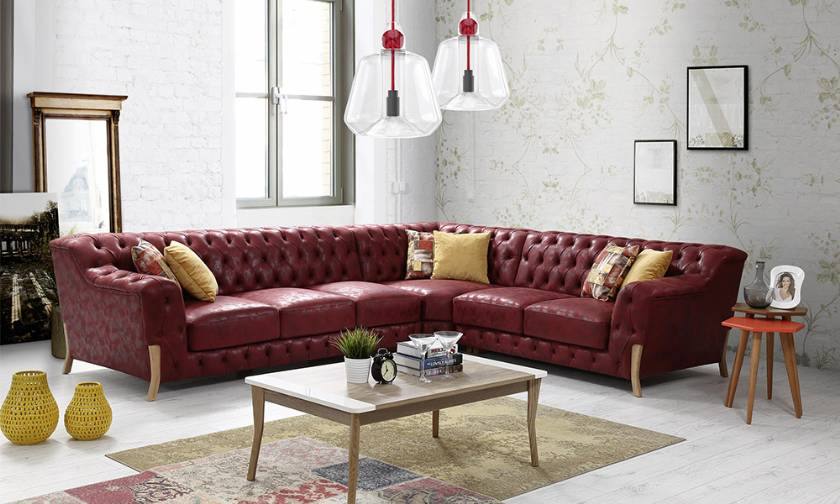 Leather Chesterfield Corner Sofa Modern New Style
