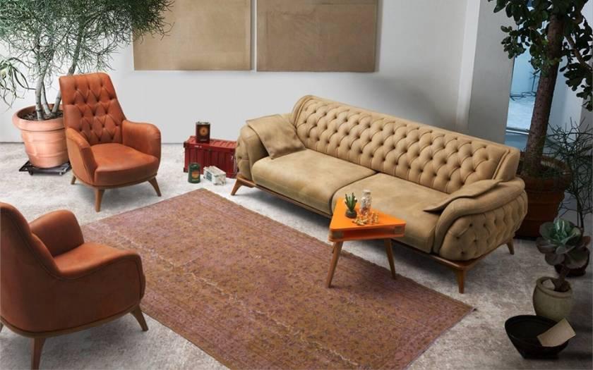 Leather Chesterfield Sofa Set Luxury Modern Living Room Design