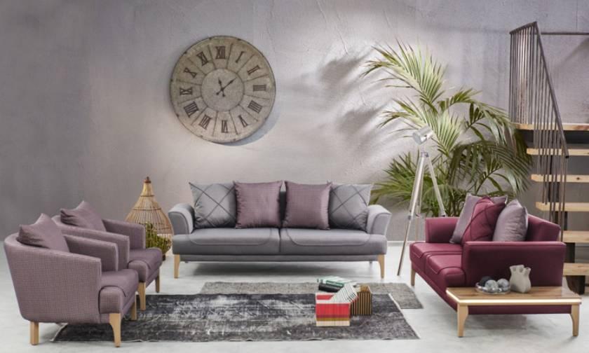 leather modern living room sofa set wooden leather luxury design