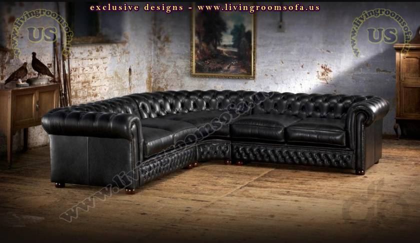 leather sectional chesterfield sofa living room design