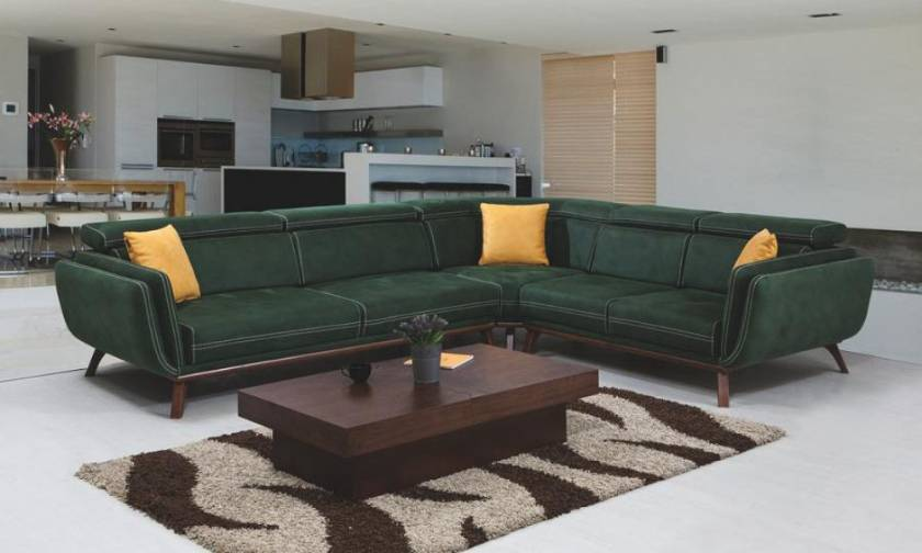 Leather Sectional sofa L shaped modern dark green range of colors textures and customizable options
