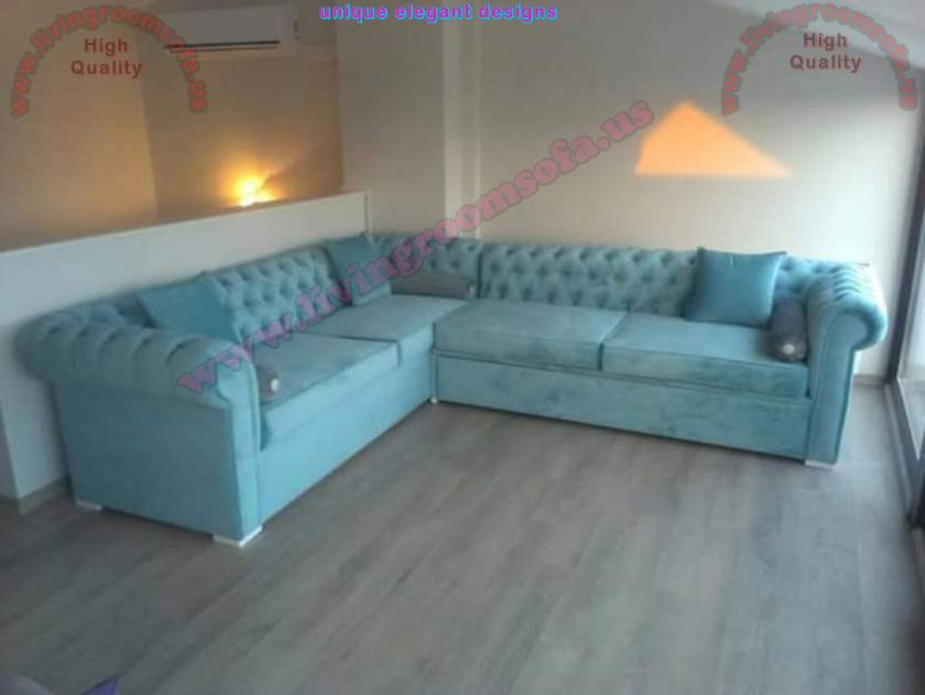 Light blue chesterfield corner sofa